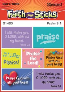 Psalm 9:1 (6 Sheets) (Stickers Faith That Sticks Series)