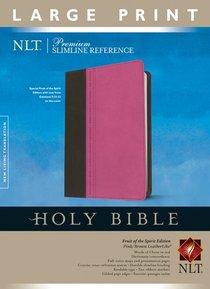 NLT Premium Slimline Reference Bible Large Print Tutone Pink/Brown (Red Letter Edition)
