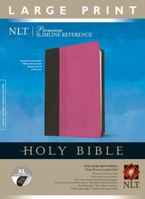 NLT Premium Slimline Reference Bible Large Print Tutone Pink/Brown Indexed (Red Letter Edition)