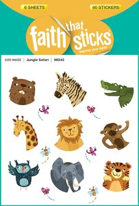Jungle Safari (6 Sheets, 90 Stickers) (Stickers Faith That Sticks Series)