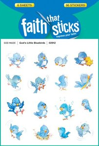 Gods Little Bluebirds (6 Sheets, 96 Stickers) (Stickers Faith That Sticks Series)