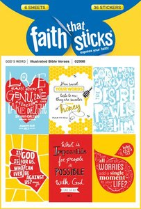 Illustrated Bible Verses (6 Sheets, 36 Stickers) (Stickers Faith That Sticks Series)