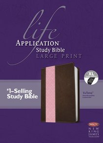 NKJV Life Application Large Print Study Bible Indexed Dark Brown/Pink Tutone (Red Letter Edition)