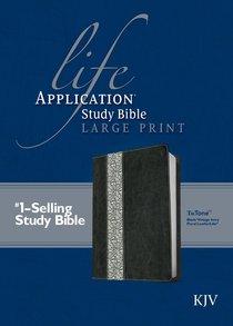 KJV Large Print Life Application Study Bible Black Vintage Ivory Floral (Red Letter Edition)