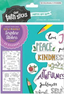 Galatians 5:22-23 (4 Sheets, 52 Colorable Stickers) (Stickers Faith That Sticks Series)