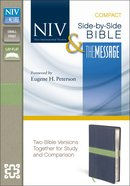 Niv/Message Side-By-Side Bible Compact Midnight Blue/Moss (Black Letter Edition) Premium Imitation Leather