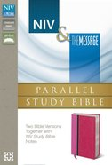 Niv/Msg Side-By-Side Study Personal Size Pink/Dark Pink (Black Letter Edition) Premium Imitation Leather