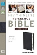 NIV Large Print Thinline Reference Bible Black Indexed (Red Letter Edition) Bonded Leather