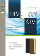 Niv/Kjv Side-By-Side Bible Large Print Navy/Tan (Black Letter Edition) Premium Imitation Leather