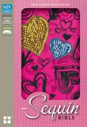 NIV Sequin Bible Hot Pink Hearts (Red Letter Edition) Hardback