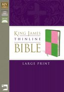 KJV Thinline Large Print Italian Meadow Green/Pink Duo-Tone (Red Letter Edition) Imitation Leather