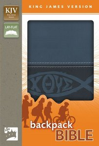 KJV Backpack Bible Italian Duo-Tone Blue Fish (Red Letter Edition)