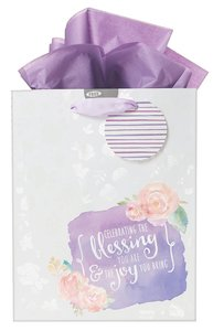 Gift Bag Medium: Celebrate the Blessing You Are, Purple/Roses (Incl Tissue Paper & Gift Tag)