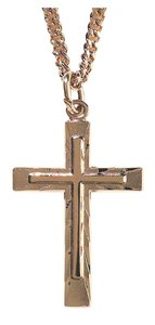 Necklace: Gold Plated Cross Within Cross on 60Cm Gold Plated Chain