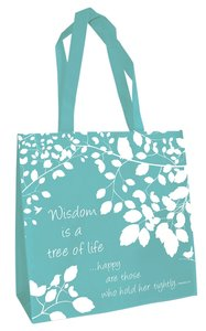 Tote Bag: Wisdom is a Tree of Life... (Teal)