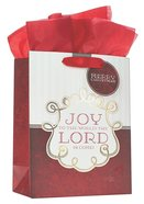 Christmas Gift Bag Medium: Joy to the World Red With Tissue Paper, Gift Tag & Satin Ribbon Handles