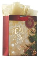 Christmas Gift Bag Small: Peace and Joy With Tissue Paper & Gift Tag