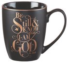 Ceramic Mug: Be Still & Know....Black, Saved By Grace Homeware