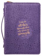 Bible Cover I Can Do All This Phil 4:13, Large, Purple Floral