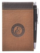 Pocket Notepad With Pen: Father's Day, Strong & Courageous (Brown/dark Brown)