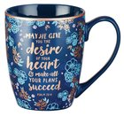 Ceramic Mug: May He Give You the Desire of Your Heart Navy/Floral (Psalm 20:4) Homeware