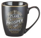 Ceramic Mug Vintage Art: Plans to Prosper (Black/white/gold) Homeware