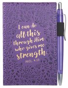 Pocket Notepad With Pen: I Can Do All Things, Phil 4:13 (Purple/floral)