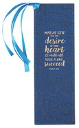Bookmark With Tassel: May He Give You the Desire of Your Heart Navy/Floral/Gold (Psalm 20:4) Stationery