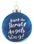 Christmas Ornament Porcelain Ball: Angels Sing (Blue/white)