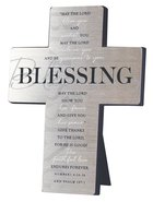 Metal Desktop Cross: Blessing, Silver Printed (Numbers 6:24-26 & Psalm 107:1) Homeware