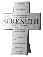 Metal Desktop Cross: Strength, Silver Printed (Isaiah 40:28-209, Micah 3:8, Phil 4:13) Homeware