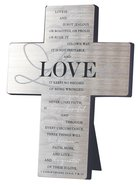 Metal Desktop Cross: Love, Silver Printed (1 Cor 13:4-5, 7 & 13)
