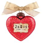 Christmas Glass Ornament Vintage Hearts: Jesus (John 3:16)