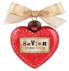 Christmas Glass Ornament Vintage Hearts: Savior (Titus 3:5-6)