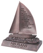 Moment of Faith Small Bronze Sculpture: His Plans Sailboat Cast Stone (Jer 29:11) Plaque