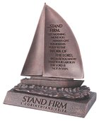 Moment of Faith Small Bronze Sculpture: Stand Firm Sailboat Cast Stone (1 Cor 15:58) Plaque