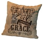 Leather Pillow: Faith Love and Amazing Grace, 35Cm X 35Cm Homeware