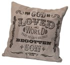 Leather Pillow: For God So Loved the World, John 3:16, 35Cm X 35Cm