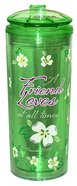Flip Top Tumbler: A Friend Loves At All Times...Green (Proverbs 17:17) Homeware
