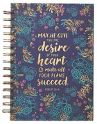 Spiral Journal: May He Give You the Desire of Your Heart Navy/Floral (Psalm 20:4)