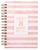 Wirebound Journal: Fearfully & Wonderfully Made Pink & White Stripes Spiral
