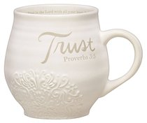 Ceramic Stoneware Mug: Trust Cream (Proverbs 3:5)