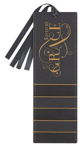 Bookmark With Tassel: Saved By Grace, Black/Gold
