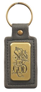 Luxleather Keyring: Be Still & Know That I Am God Saved By Grace (Black/gold)