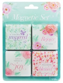 Magnetic Set of 4: Sing For Joy (Green Floral)