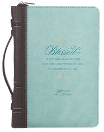 Bible Cover Blessed is She Luke 1:45 Large Turquoise/Brown