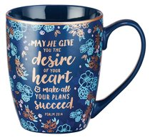 Ceramic Mug: May He Give You the Desire of Your Heart Navy/Floral (Psalm 20:4)