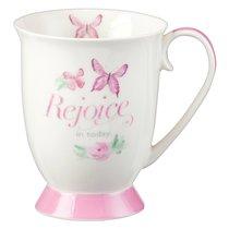 Ceramic Mug Sing For Joy: Rejoice (Pale Pink/floral/white)