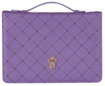 Bible Cover Cross Badge Grace Zipper Purple Large Luxleather