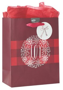 Christmas Gift Bag Medium: Joy With Tissue Paper, Gift Tag & Satin Ribbon Handles